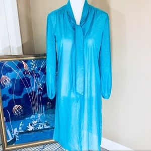 Turquoise Vintage dress with neck tie long sleeves